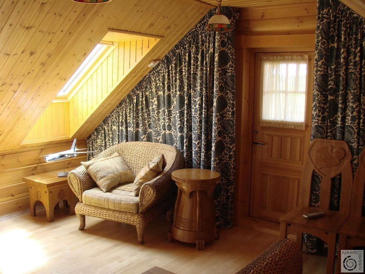 Дизайн интерьера мансарды деревянного дома