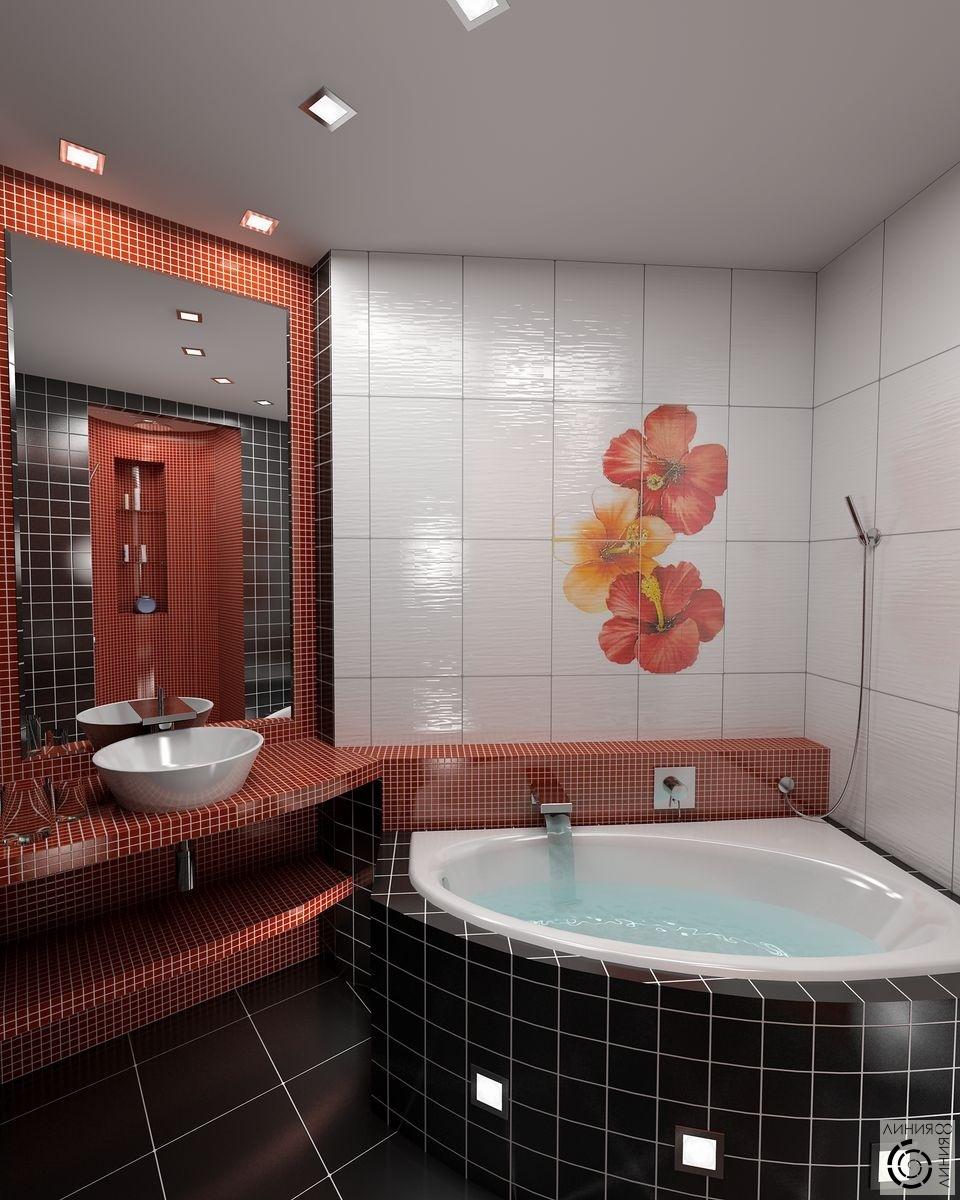 Дизайн ванной в красно черном цвете