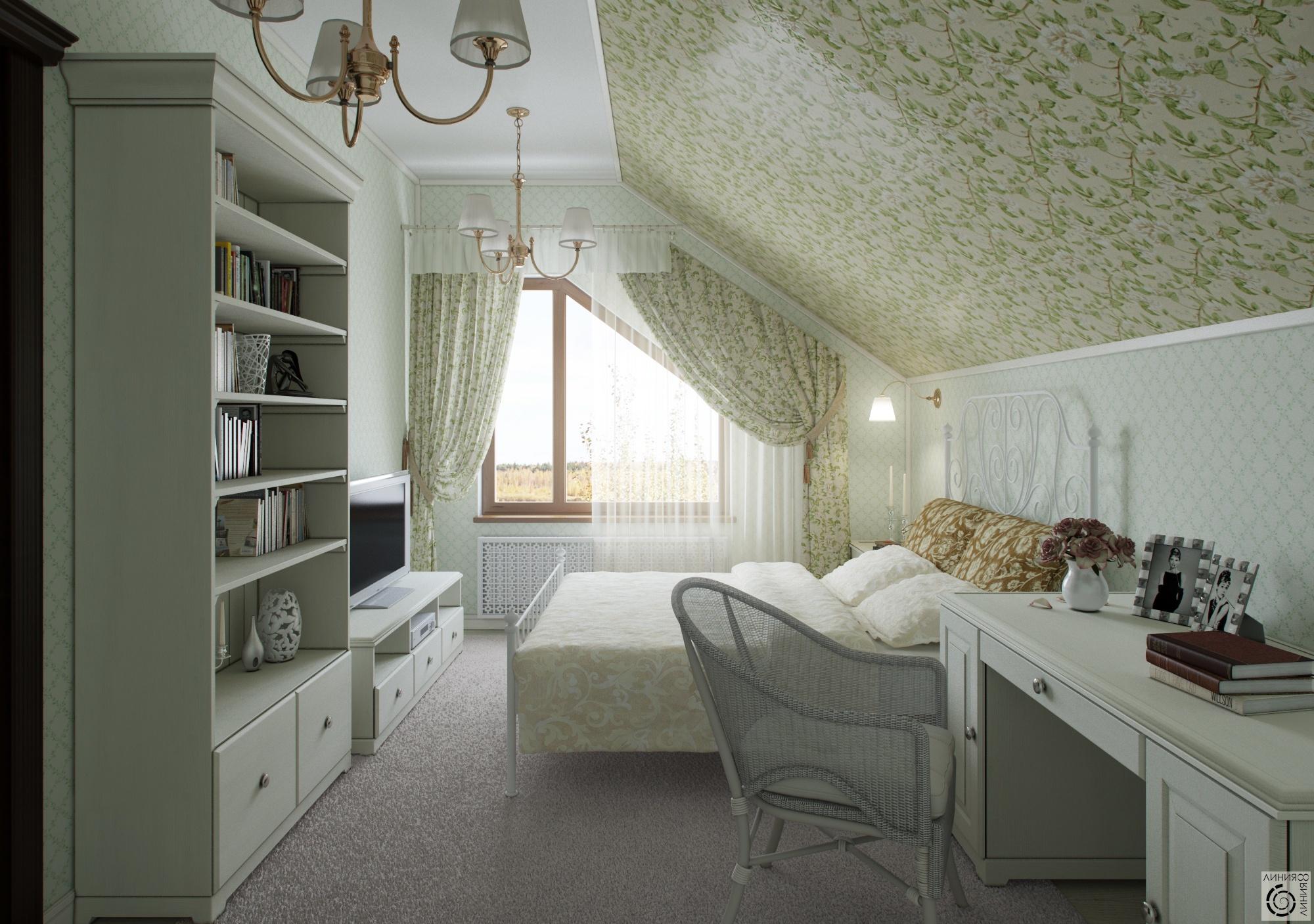 Интерьер спальни в мансарде фото